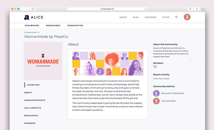 Screenshot of website for female entrepreneurs program, WomanMade PepsiCo Initiative